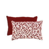 Red and White Flocked Damask Rectangular Throw Pillow | www.hayneedle.com
