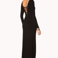 Peasant Lace Back Maxi Dress