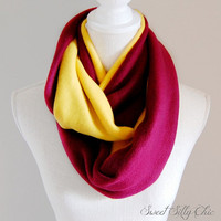 Gryffindor Inspired Fleece Infinity Scarf, Harry Potter Hogwarts House Scarf, Red Gold Fleece Scarf