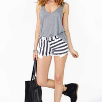 Reverse Sailor Stripe Cutoff Shorts - Final Sale