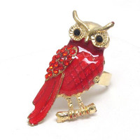 Red body crystal eyed owl adjustable ring
