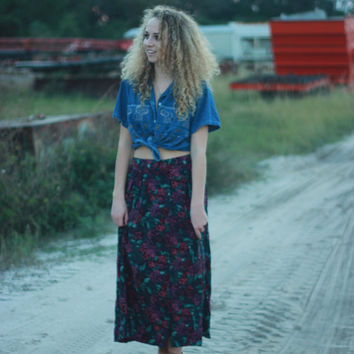 Vintage Floral Print 80s Ankle Length Maxi Skirt Tumblr Hipster