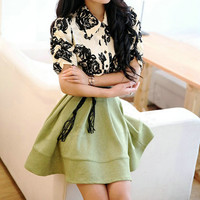 Floral Print Flounce Shirt Dress