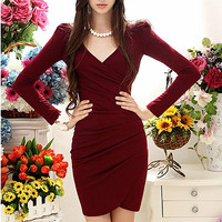 Pleated V Neck Long Sleeve Bodycon Dress(N1118)