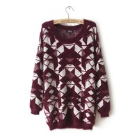 Long Sleeve Geometric Pattern Fluffy Sweater(N1118)