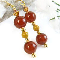 Carnelian Earrings Jasper Copper Crystals Versatile Handmade Jewelry