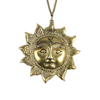 Hasani. Huge Solid Brass Celestial Sun Necklace