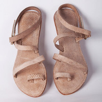 Wewelduwa Tuna leather sandals - Natural/ Pink