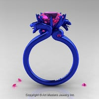 Modern Dragon 14K Blue Gold 3.0 Ct Pink Sapphire Designer Engagement Ring R601-14KBLGPS