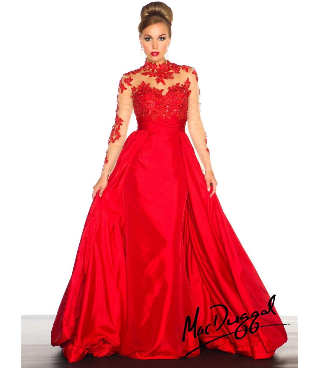 Duggal 2014 Prom Dresses - Red Vintage Inspired Long Sleeve Prom GownVintage Inspired Prom Dresses 2014