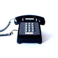 RESTORED vintage phone - 1983 Black Western Electric Model 2500 push-button phone in perfect working condition - Retro, Mad Men, mid century