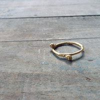 24K gold plated twig ring Branch ring Christmas gift