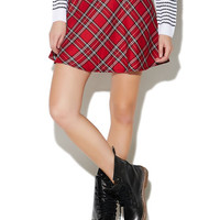 Plaid Skirt With Faux Leather Waist | Wet Seal