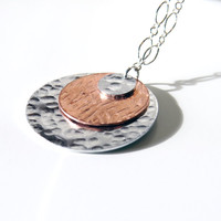 Mixed Metal Medallion Necklace, Hammered Silver Alumninum and Copper, Modern Boho, Long or Short