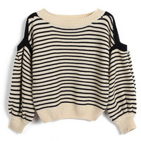 ROMWE | ROMWE Horizontal Stripe Elastic Black-apricot Jumper, The Latest Street Fashion