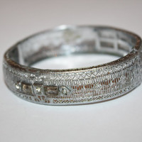 Art Deco Rhodium Filigree Bangle Bracelet Wide 1920s Jewelry