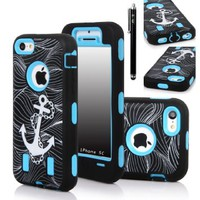 E-LV Deluxe Printed Hard Soft High Impact Hybrid Armor Defender Case Combo for Apple iPhone 5C with 1 Screen Protector, 1 Black Stylus and 1 Microfiber Sticker Digital Cleaner (iPhone 5C, Anchor Sky Blue)