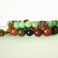Fancy Bracelet Set, Mixed Agate Beads, Green Gemstones, Gift Set, Feel Special, Stretch bracelets, Handmade Quality, Unique Gift