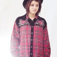 90s Boho Plaid Shirt Oversize / Velvet / EMBROIDERY / Red and Black / FLANNEL Shirt / Slouchy Shirt / Grunge 90s / Boho Grunge