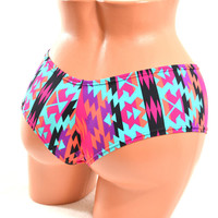 Aztec Print Ultra Cheeky Booty Shorts