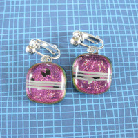 Dichroic Pink Clip On Earrings, Dangle Clip Earings, Handmade Clipon Jewelry - Reagon - 1865 -3