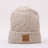 OG Checkered Woven Beanie in Cream