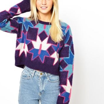 ASOS Premium Cropped Sweater In Geo Knit - Multi
