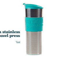 Teal Bodum Travel Press - Sleek Stainless Steel Travel Mug With Colourful Silicon Band | DavidsTea