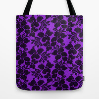 Black Lace on Purple Tote Bag by Alice Gosling