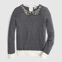 FACTORY STRIPE JEWELED PETER PAN COLLAR SWEATER
