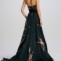 Strapless Twig-Jacquard Ball Gown