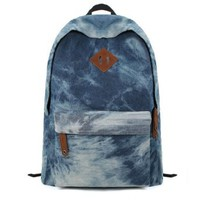 Casual Denim Backpack Fashion Girls Boys Students Middle School Bag