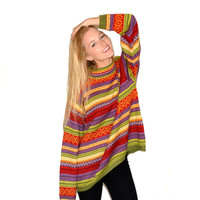 Bright and Colorful Striped Sweater, Oversize Sweater