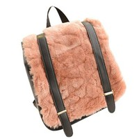 Leisure Warm Chic Stylish Faux Fur Spliced Flocky Backpack Bag