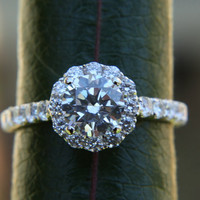 Diamond Engagement Ring -14K white gold - 1.65 carat - Round - Flower Halo - Pave - Antique Style - Bp0014