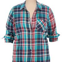 One Pocket Plaid button down Shirt