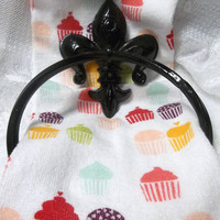 Shabby Chic Towel Ring - Fleur De Lis - Jet Black - French Country - Paris - Kitchen - Bathroom