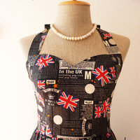 UK Love Dress Retro Tea Dress Black Dress Vintage Inspired Dress Cotton Dress Once Upon a Time -Size XS, S, M, L,-