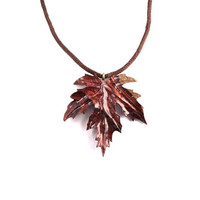 Wood Pendant, Wooden Leaf Pendant, Wood Jewelry, Leaf Necklace, Carved Leaf Pendant, Leaf Jewelry, Wood Carved Pendant, Wooden Leaf Necklace