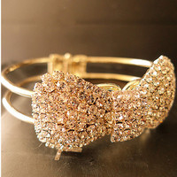 $ 16.99 Dresswe.com SUPPLIES Polished Bow Knot Rhinestone Simple Full Diamond Bracelets
