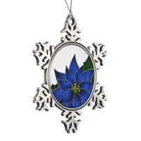 Cobalt Blue Poinsettia Snowflake Ornaments