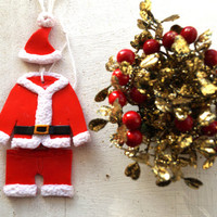 Santa Clothes Ornaments, Set of 3 Santa Claus Christmas Tree Flat Ornaments