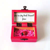 Wood Box, Your'e My Best Friend, Custom Gift, Handpainted Trunk, Treasure Chest, Wedding Favor, Personalized
