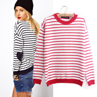 Love heart stripe fleece sweater from Sweetbox Store