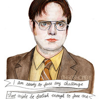 Dwight Schrute watercolor portrait illustration PRINT The Office Rainn Wilson quote