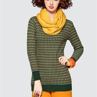 BestDressBoutiques.com-. Cute Women's Round Neckline Long Sleeves Green Wool Sweater