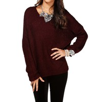 Burgundy Basic Textured Sweater