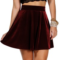 Burgundy Velvet Holiday Skirt