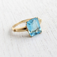 Antique 10k Yellow Gold Aquamarine Blue Stone Ring - Art Deco 1940s Size 6 1/2 Vintage Fine Jewelry / Emerald Cut Sky Blue