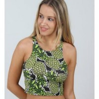 Green Pineapple Print Crop Top